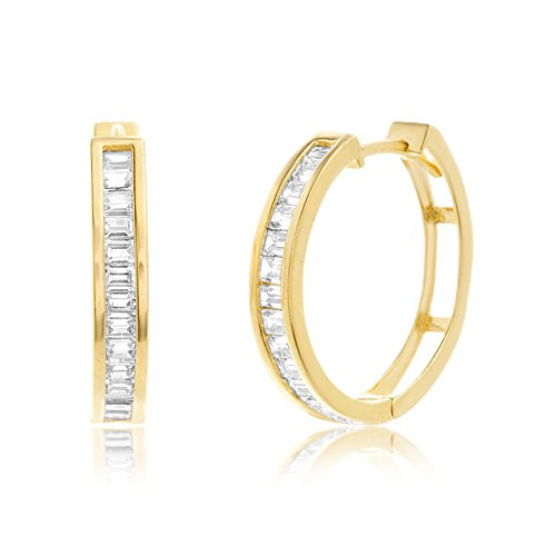 Lesa Michele Baguette Cubic Zirconia Hoop Earrings in Yellow Gold over Sterling Silver 14k Yellow Gold Swarovski Crystal