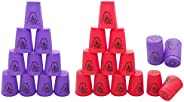 24 Pack Sports Stacking Cups, Quick Stack Cups Set Speed Training Game for Travel Party Challenge Competition,