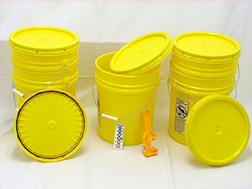 (Bucket Kit, Five 90 mil Yellow Food Grade 5 Gallon Buckets with Yellow Snap-on Lids and one Lid Wrench)