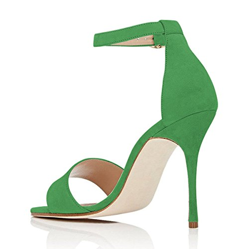 FSJ Women Evening Ankle Strap Buckled Sandals Open Toe Stiletto High Heels Dress Shoes Size 4-15 US Green BXWv6UhRj