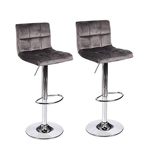 PULUOMIS Square Back Modern Hydraulic Adjustable Swivel Bar Stools, 360 Degree Rotation, Set of 2, Dark Gray ()