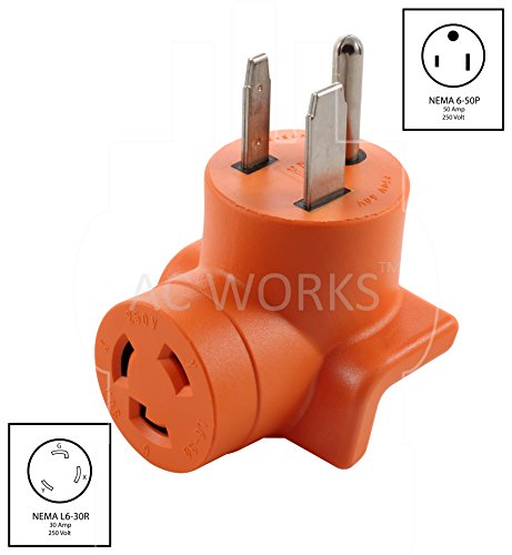 AC WORKS [AD650L630] Welder 6-50P Plug to L6-30R 3-Prong 30 Amp 250 Volt Locking Female Adapter by AC WORKS (Image #1)
