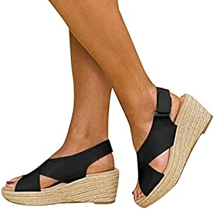 DUBUK Women's Emerge Espadrille Wedge Sandal Peep Toe
