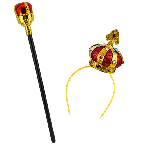 Tigerdoe King Crown and Scepter - 2 Piece Set - Mini Hat Headbands & Scepter - Queen Crown and Scepter ()