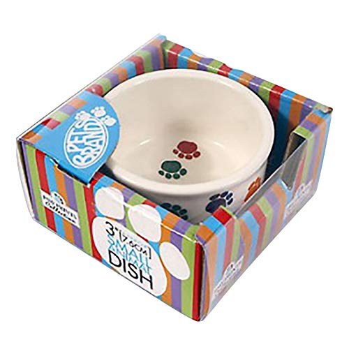 (Pet Brands Paw Print Ceramic Dish (8 x 4.3in) (White) )