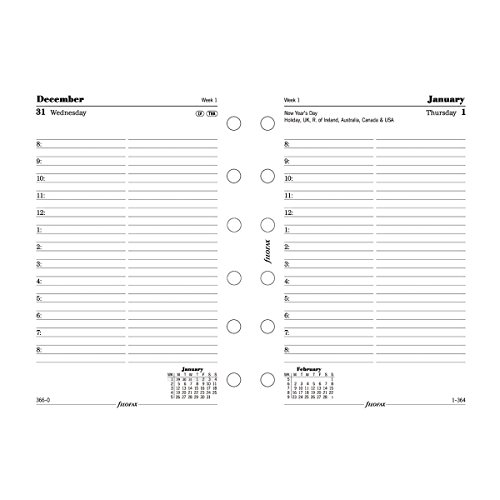 """Filofax Day on a Page Refill for 2016 Pocket Size Yearly Calendar, English, 4.75 x 3.25"""" (C68241-16)"""
