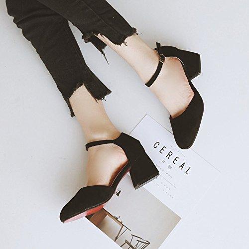 SHOESHAOGE Solo Zapatos Gruesos Hembra con Sandalias Ranurados para Zapatos High-Heel Light-Side Vacío,Eu39 EU35