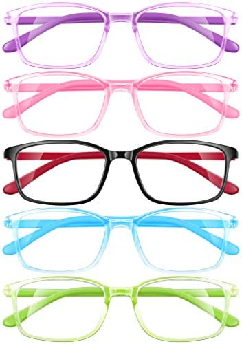 AZUZA Kids Blue Light Blocking Glasses 5 Pack, Anti Eyestrain & UV Protection, Computer Gaming TV Phone Glasses for Teens Boy Girls Age 3-14 (5pack Transparency)