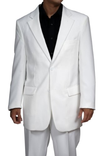 Men's 2 Button White Dress Suit - Ideal for Miami Vice Costume