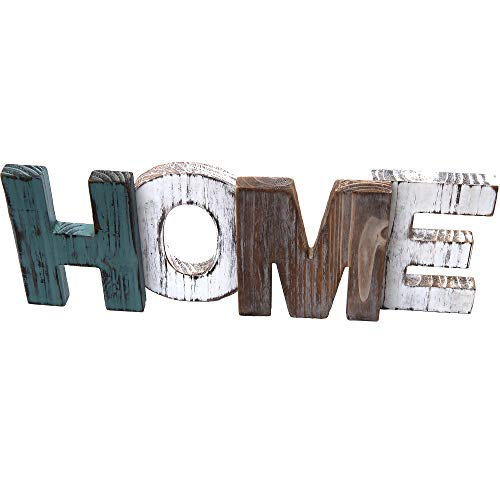 Rustic Wood Home Sign Decoration | Wall Mount or as Freestanding Decoration on Table or a Fireplace Mantel | Perfect Cutout Word Sign Accent for a Family Living Room Centerpiece