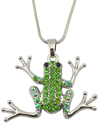 Green Crystal Frog Pendant Cute Animal Necklace For Women/Girls/Men/Boys Gift