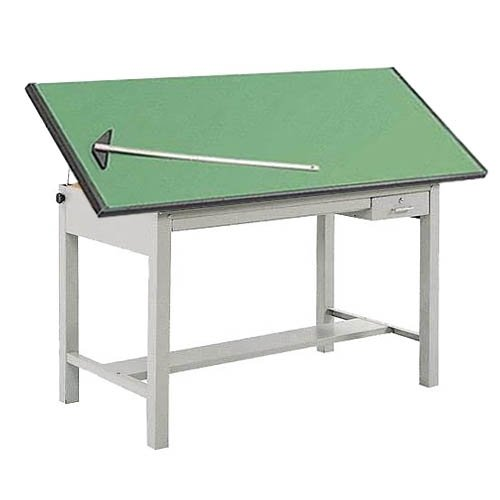 Safco 3962GR3953KIT Precision Drafting Table, 72''W Tabletop, 4 Post Steel Base, Non-Glare Green Lami by Safco