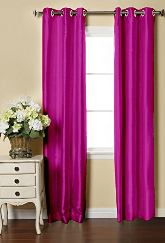 LUSHOMES Pink Dupion Silk Curtain with 6 Plastic Eyelets (Pack of 2 pcs) for Doors