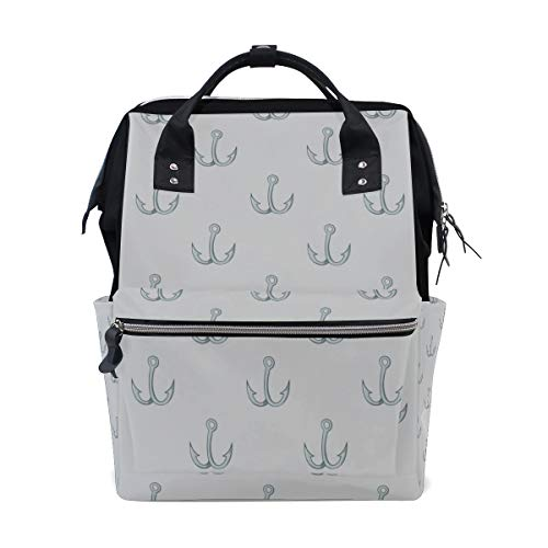 Fish Hook Fishing Tool Large Capacity Diaper Bags Mummy Backpack Multi Functions Nappy Nursing Bag Tote Handbag for Children Baby Care Travel Daily Women