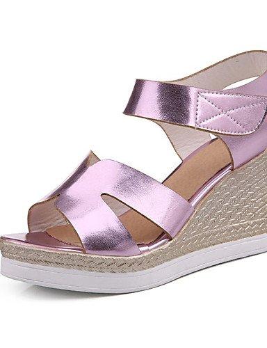 LFNLYX Zapatos de mujer-Tacón Cuña-Cuñas-Sandalias-Boda / Vestido / Casual / Fiesta y Noche-Semicuero-Azul / Rosa / Plata / Oro Silver