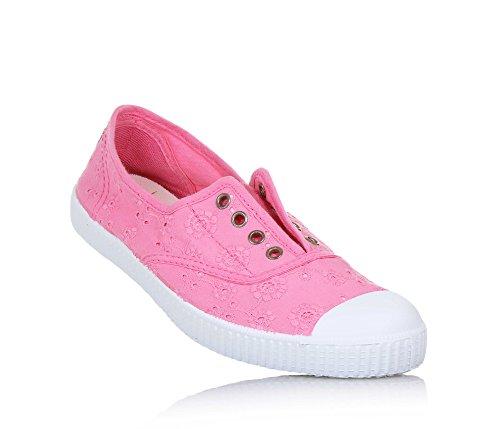 CIENTA - Rosa Schuh aus unbehandeltem ökologischem Stoff, Gummispitze, Mädchen