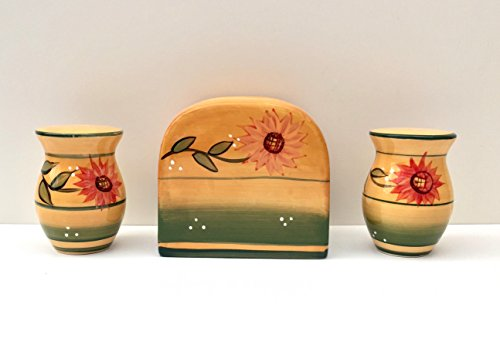 - Tuscany Kitchen Yellow Country Sunflower, Hand Painted Ceramic Napkin Holder, Salt & Pepper shaker Set, 82928-1 by ACK