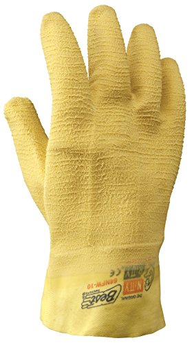 SHOWA 64NFW-10 Fully Coated Natural Rubber Glove, Cotton Poly Flannel Liner, General Purpose Work, 10