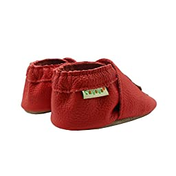 Sayoyo Baby Chicks Soft Sole Leather Infant Toddler Prewalker Shoes (Red, 6-12 months)