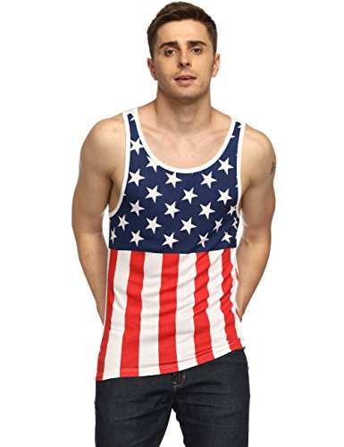 HEQU Men's Casual American Flag Stripes and Stars Print Tank Top Sleeveless Slim Fit Muscle Shirt Red XL (Shirt Flag Star)