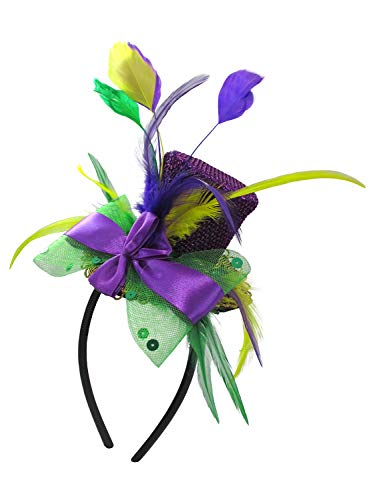 Jacobson Hat Company Unisex-Adult's Mardi Gras Mini Top Hat Headband with Feathers, Purple, Adjustable