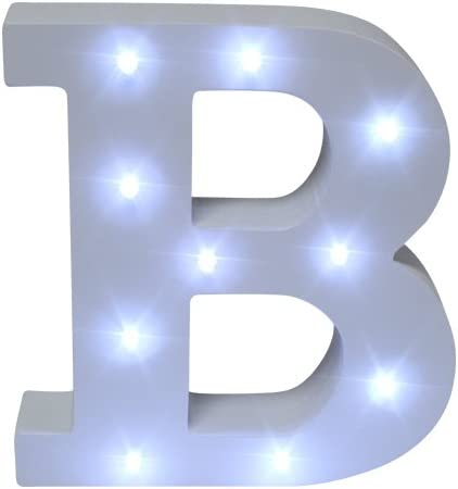 Royal Brands Decorative DIY LED Letter Light Sign - Light Up Wooden Alphabet Letter Battery Operated Party Wedding Marquee Décor - White (B)