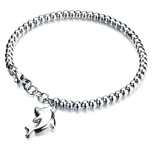 MoAndy Titanium Link Bracelets for Womens Round Beads Chain Dolphin Charms White 7 Inch