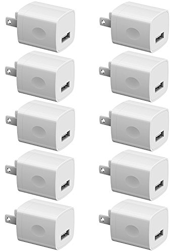 Boost Chargers 5W USB Power Adapter [10-Pack] Wall Charger 1A Cube for Plug Outlet Compatible for iPhone 8 / X / 7 / 6S / Plus +, Samsung Galaxy, Motorola, HTC, Other Smartphones - White