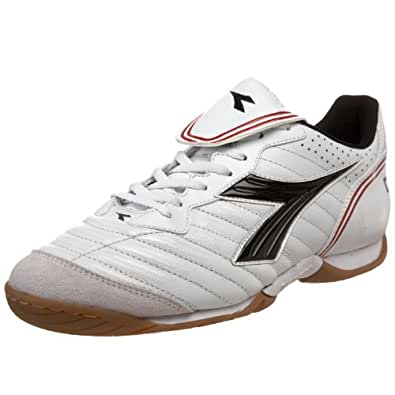 Diadora Men's Scuddetto LT Indoor Soccer Shoe,White/Black Dark /Red,6 M US