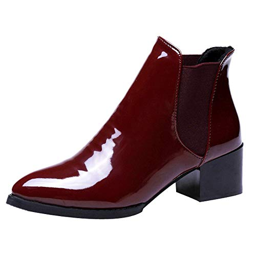 FORUU Fashion Women Elasticated Patent Leather Boots Pointed Low Heel Boots