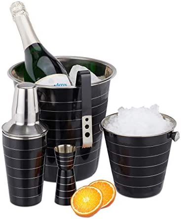 Relaxdays Cocktailset, 5-teiliges Shaker Set, Edelstahl, Shaker 500 ml, Eiseimer, Zange, Flaschenkühler, Barmaß, schwarz