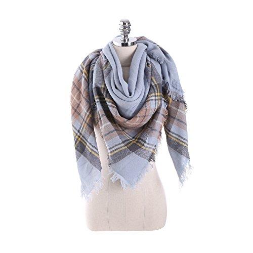 Checked Blanket (HITOP Women Tartan Scarf Stole Plaid Blanket Checked Scarves Wraps Shawl (Plaid Blue))