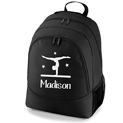 Kit Gymnastics Bag Beam Rucksack Black Personalised And Stars iClobber Backpack 7q0Up11x