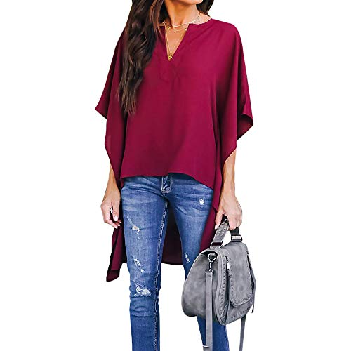 Joteisy Women's V Neck Casual High Low Hem Blouse, Batwing Sleeve Tops (S, Wine Red)
