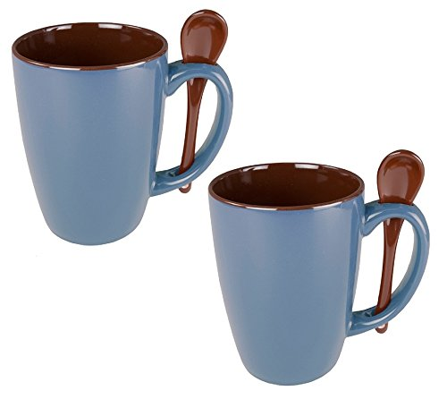 Ceramic Novelty Mug With Spoon Handle, Steel Blue w/ Chocolate Brown Interior (Pack of 2) - Personalized Tea Set