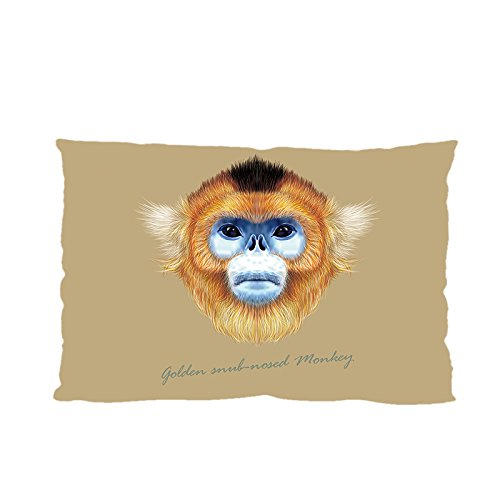 Golden Snub-nosed Monkey Pillowcase Baby Wool Fabric, 20 x 30 Inches Two Sides Print, Custom Print Sichuan Golden Hair Monkey Pillow Case Cover