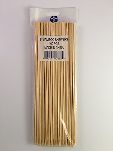 KingSeal Natural Bamboo Wood Skewers - 8 Inches, Master Case of 12/16/100 (19,200 pcs total) by KingSeal