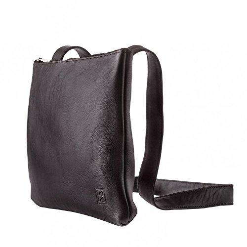 Leather Woman With Mens Strap Flat Slim Zipper Bag Dudu Shoulder Brown Dark Soft Design Adjustable nqzXC8F