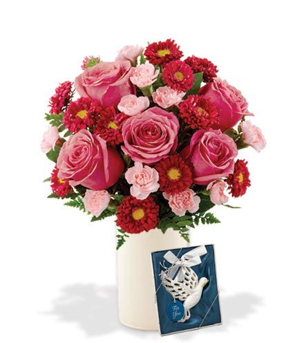 Blooming Heart Pink Roses, Red Asters, Pink Carnations Bouquet, with White Ceramic Vase and Dove Ornament (Fresh Cut Flowers)