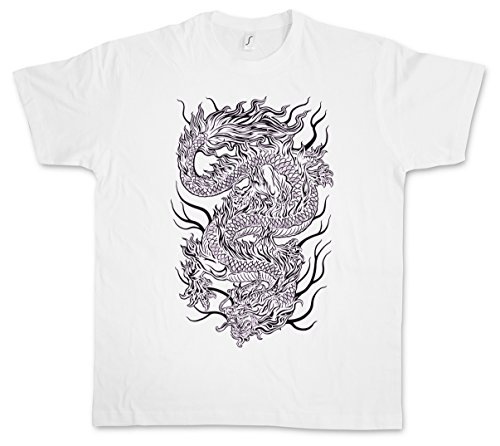 CHINESE TATTOO DRAGON III T-SHIRT - Asia Drache Oldschool Rockabilly T-Shirt Größen S