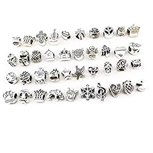 yueton Pack of 40 Assorted Loose Spacer Beads Charms Bracelet Jewelry Making Findings DIY ()