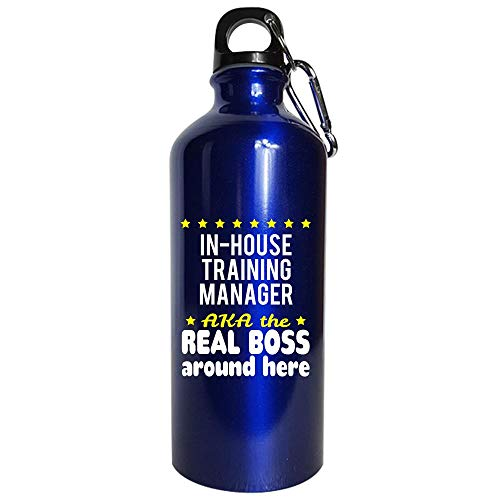 (In-House Training Manager AKA The Real Boss Around Here - Water Bottle Metallic Blue)