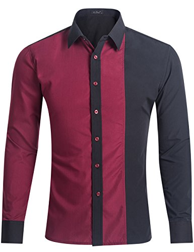 XI PENG Men's Casual Long Sleeve Patchwork Contrast Fitted Button Down Tailored Dress Shirts (Medium, Contrast-Red Black) Button Down Tailored Dress Shirt