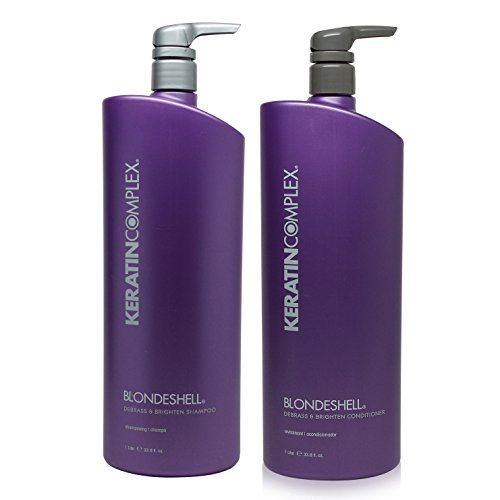 Keratin Complex Blondeshell Debrass & Brighten Shampoo & Conditioner Liter DUO 33.8 oz