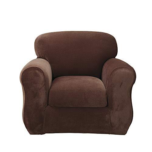 SureFit Stretch Pique 3-Piece - Chair Slipcover - Chocolate