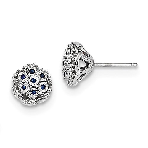 14k White Gold Diamond Sapphire Post Stud Earrings Ball Button Fine Jewelry Gifts For Women For Her ()