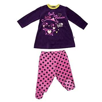 Pyjama bébé 2 pièces velours avec pieds Hip Hip - Taille - 6 mois (68 cm) Petit Béguin