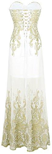 Vestido de Noche Mujer Largo Blanco Dorado de Transparente Diseno Angel Floral fashions Bordado a1U00w