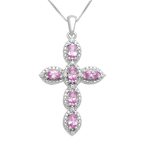 Sapphire Round Cross Pink - Jewelili Sterling Silver 5x3mm Oval Created Pink Sapphire and Round Created White Sapphire Cross Pendant Necklace, 18