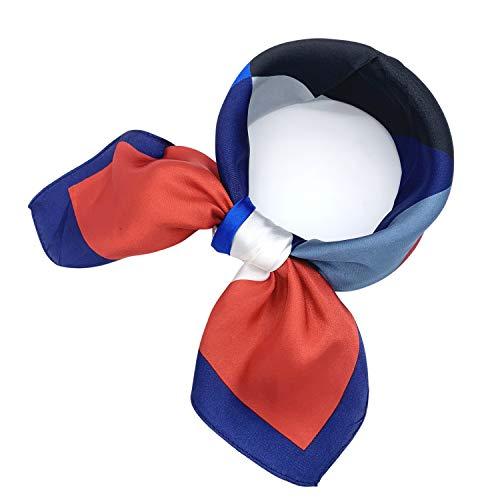 - YOUR SMILE Silk Feeling Like Scarf Women's Fashion Pattern Large Square Satin Headscarf Headdress 24''x24'',Red&White&Blue Checker